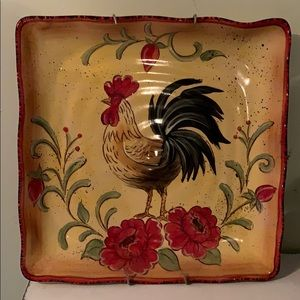 Happy Poppy Rooster decorative plate